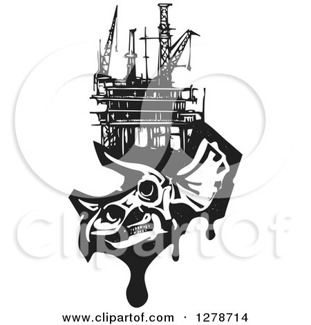 Clipart of a Black and White Woodcut Apatosaurus or Brontosaurus Dinosaur Skeleton with an Oil Rig on Its Head - Royalty Free Vector Illustration by xunantunich