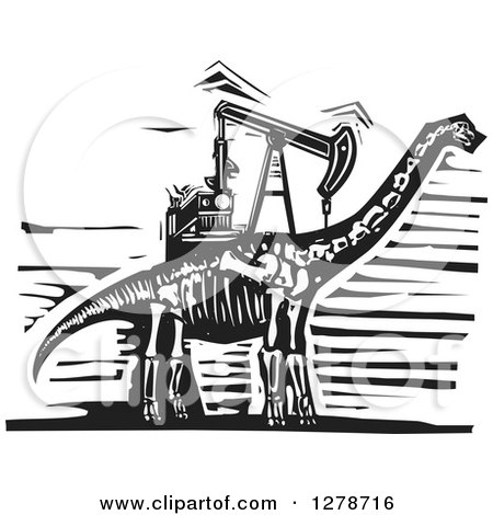 Clipart of a Black and White Woodcut Apatosaurus or Brontosaurus Dinosaur Skeleton with an Oil Well Pumpjack on Its Back - Royalty Free Vector Illustration by xunantunich