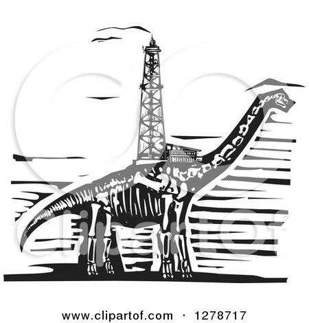 Clipart of a Black and White Woodcut Apatosaurus or Brontosaurus Dinosaur Skeleton with an Oil Well Drill on Its Back - Royalty Free Vector Illustration by xunantunich