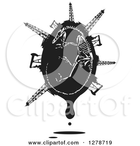Clipart of a Black and White Woodcut Curled up Velociraptor Dinosaur Skeleton in a Dripping Egg with Oil Wells, Pumpjacks and Rigs - Royalty Free Vector Illustration by xunantunich