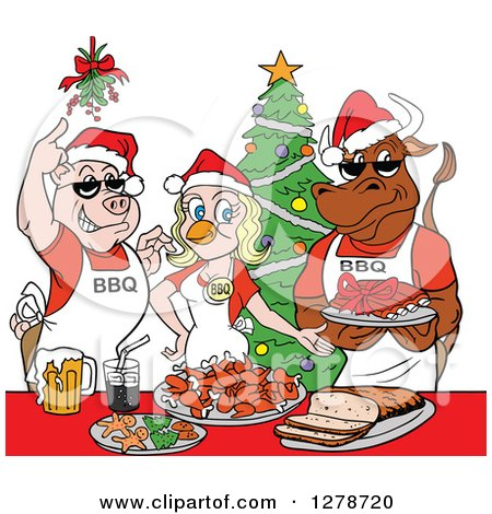 Clipart of a Bbq Chef Cow Pig and Female Chicken with Food Under Mistletoe at a Christmas Party - Royalty Free Vector Illustration by LaffToon