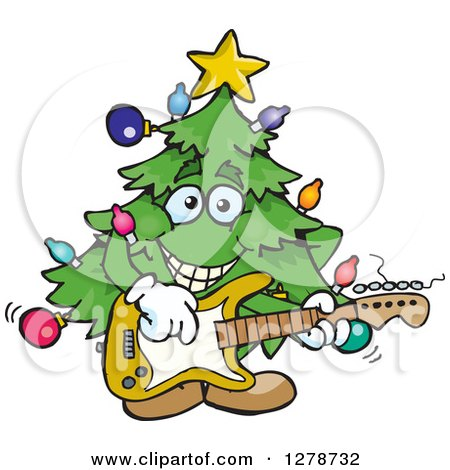 Clipart of a Happy Christmas Tree Playing an Electric Guitar - Royalty Free Vector Illustration by Dennis Holmes Designs
