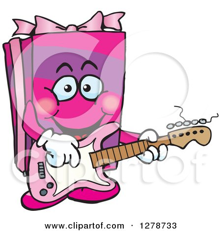 Clipart of a Happy Pink Gift Character Playing an Electric Guitar - Royalty Free Vector Illustration by Dennis Holmes Designs