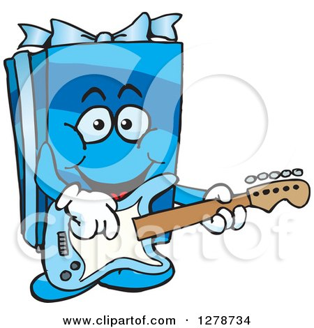 Clipart of a Happy Blue Gift Character Playing an Electric Guitar - Royalty Free Vector Illustration by Dennis Holmes Designs