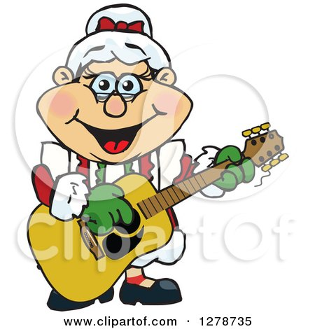 Clipart of a Happy Mrs Claus Playing Christmas Music on an Acoustic Guitar - Royalty Free Vector Illustration by Dennis Holmes Designs