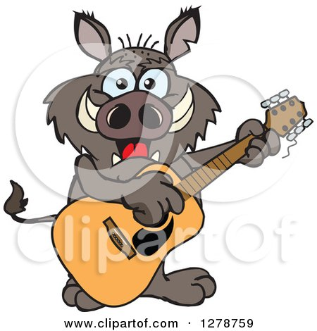 Clipart of a Happy Boar Playing an Acoustic Guitar - Royalty Free Vector Illustration by Dennis Holmes Designs