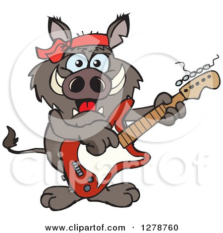 Clipart of a Happy Boar Playing an Electric Guitar - Royalty Free Vector Illustration by Dennis Holmes Designs