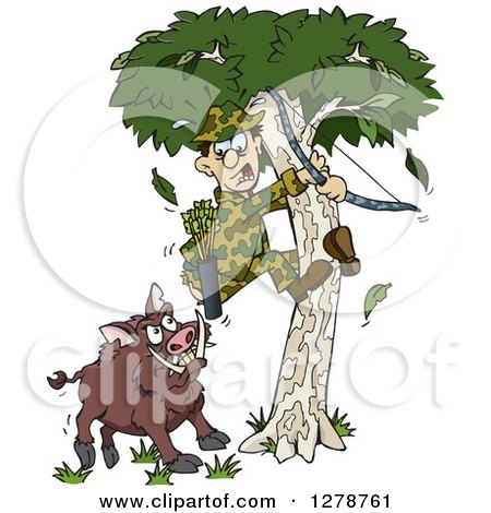 Clipart of a Boar Chasing a Scared Male Hunter into a Tree - Royalty Free Vector Illustration by Dennis Holmes Designs