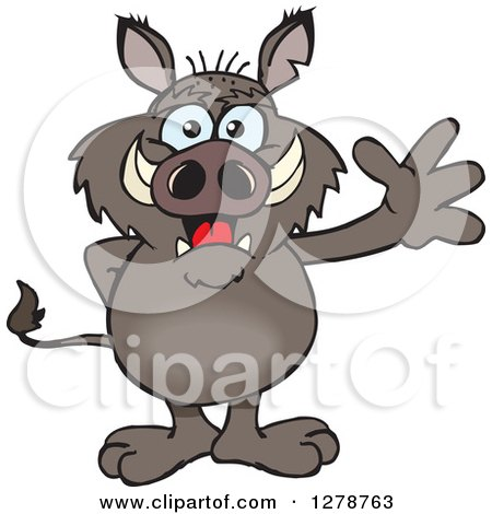 Clipart of a Friendly Waving Boar Standing - Royalty Free Vector Illustration by Dennis Holmes Designs