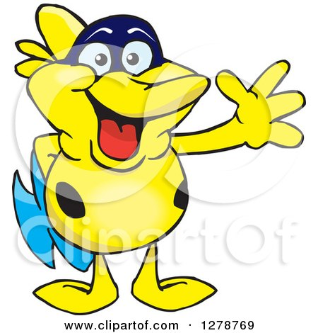 Clipart of a Happy Yellow Marine Fish Waving - Royalty Free Vector Illustration by Dennis Holmes Designs