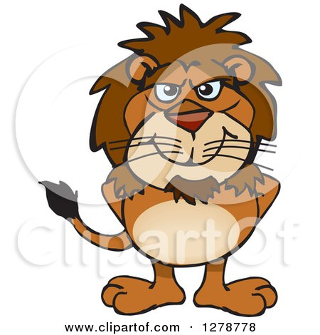 Clipart of a Happy Male Lion Standing - Royalty Free Vector Illustration by Dennis Holmes Designs