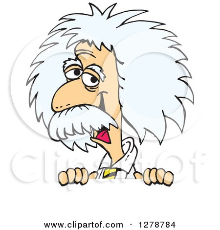Clipart of a Senior Scientist Albert Einstein Smiling and Peeking over a Sign - Royalty Free Vector Illustration by Dennis Holmes Designs