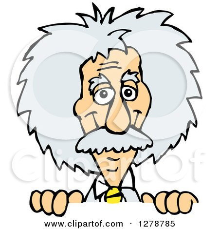 Clipart of a Scientist Albert Einstein Smiling and Peeking over a Sign - Royalty Free Vector Illustration by Dennis Holmes Designs