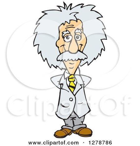 Clipart of a Senior Scientist Albert Einstein Standing with His Hands Behind His Back - Royalty Free Vector Illustration by Dennis Holmes Designs