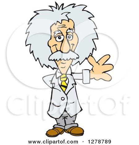 Clipart of a Senior Scientist Albert Einstein Waving - Royalty Free Vector Illustration by Dennis Holmes Designs