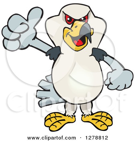 Clipart of a Kite Bird Holding a Thumb up - Royalty Free Vector Illustration by Dennis Holmes Designs