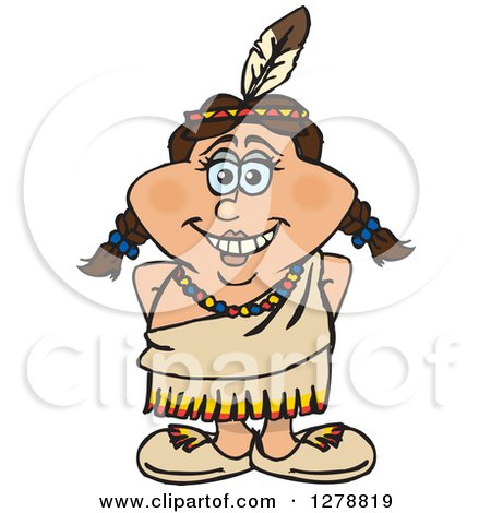 Clipart of a Happy Native American Indian Woman - Royalty Free Vector Illustration by Dennis Holmes Designs