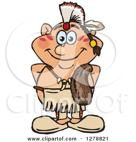 Clipart of a Happy Native American Indian Man - Royalty Free Vector Illustration by Dennis Holmes Designs