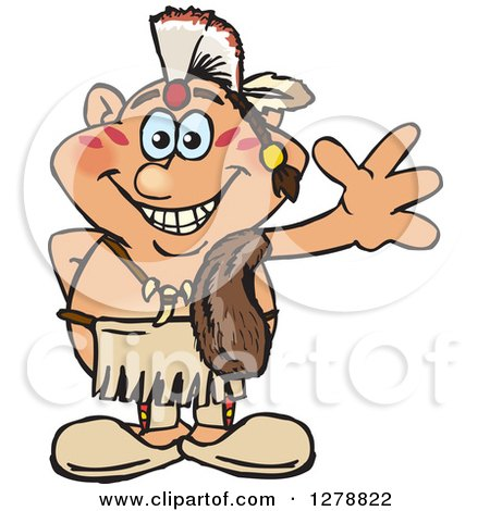 Clipart of a Happy Native American Indian Man Waving - Royalty Free Vector Illustration by Dennis Holmes Designs
