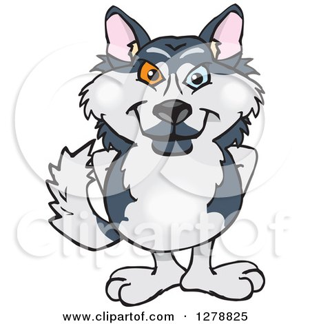 Clipart of a Happy Husky Dog Standing - Royalty Free Vector Illustration by Dennis Holmes Designs