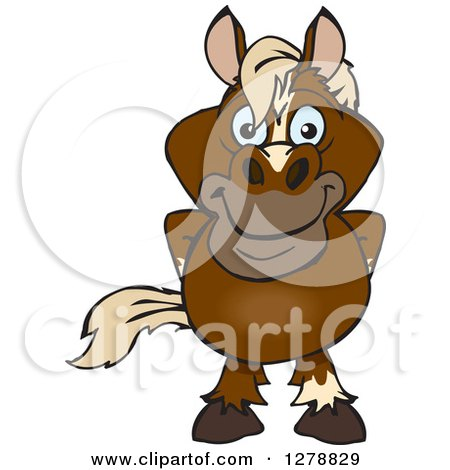Clipart of a Happy Brown Horse Standing - Royalty Free Vector Illustration by Dennis Holmes Designs