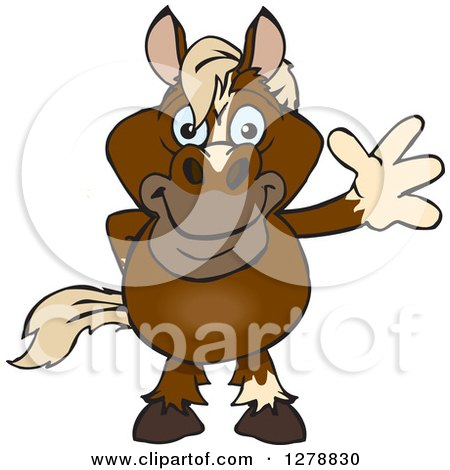 Clipart of a Happy Brown Horse Waving - Royalty Free Vector Illustration by Dennis Holmes Designs