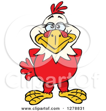 Clipart of a Happy Hen - Royalty Free Vector Illustration by Dennis Holmes Designs