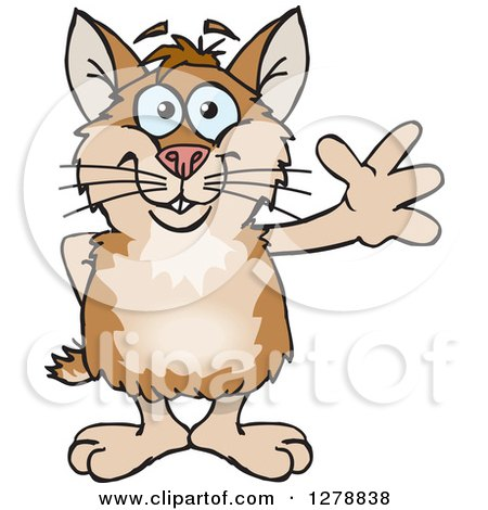 Clipart of a Happy Hamster Waving - Royalty Free Vector Illustration by Dennis Holmes Designs