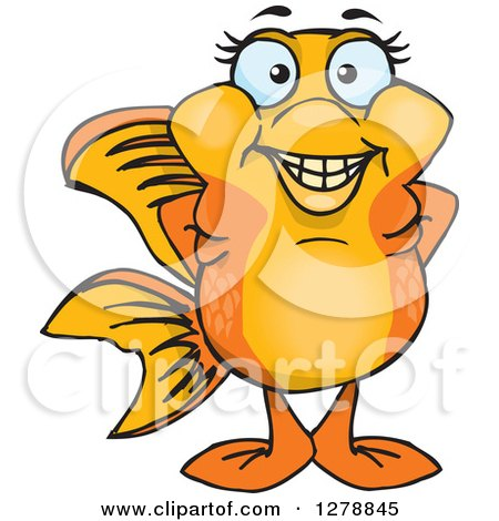Clipart of a Happy Fancy Goldfish - Royalty Free Vector Illustration by Dennis Holmes Designs