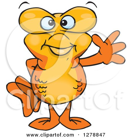 Clipart of a Happy Goldfish Waving - Royalty Free Vector Illustration by Dennis Holmes Designs