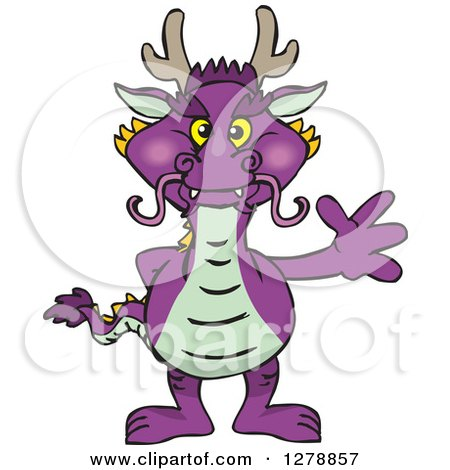 Clipart of a Purple Dragon Standing and Waving - Royalty Free Vector Illustration by Dennis Holmes Designs