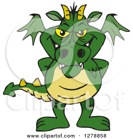 Clipart of a Green Dragon Standing - Royalty Free Vector Illustration by Dennis Holmes Designs