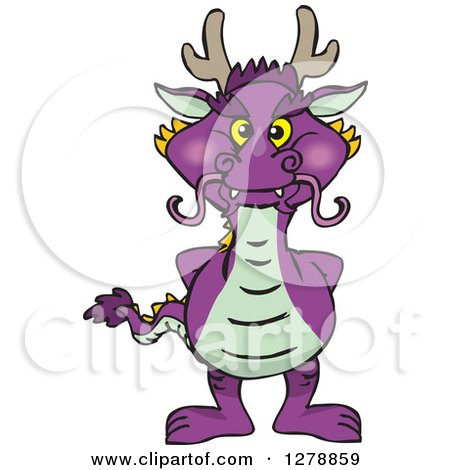 Clipart of a Purple Dragon Standing - Royalty Free Vector Illustration by Dennis Holmes Designs