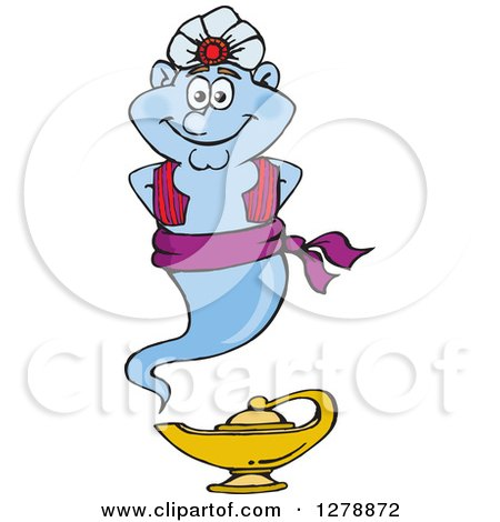 Clipart of a Happy Genie Floating over a Lamp - Royalty Free Vector Illustration by Dennis Holmes Designs
