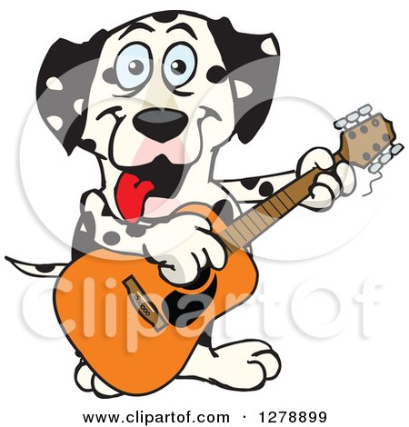 Clipart of a Happy Dalmatian Dog Playing an Acoustic Guitar - Royalty Free Vector Illustration by Dennis Holmes Designs
