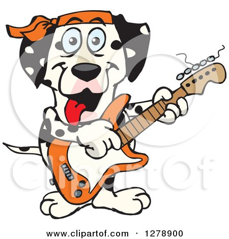 Clipart of a Happy Dalmatian Dog Playing an Electric Guitar - Royalty Free Vector Illustration by Dennis Holmes Designs