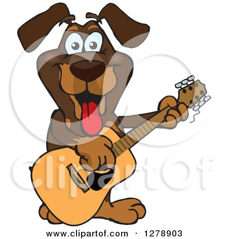 Clipart of a Happy Dachshund Dog Playing an Acoustic Guitar - Royalty Free Vector Illustration by Dennis Holmes Designs