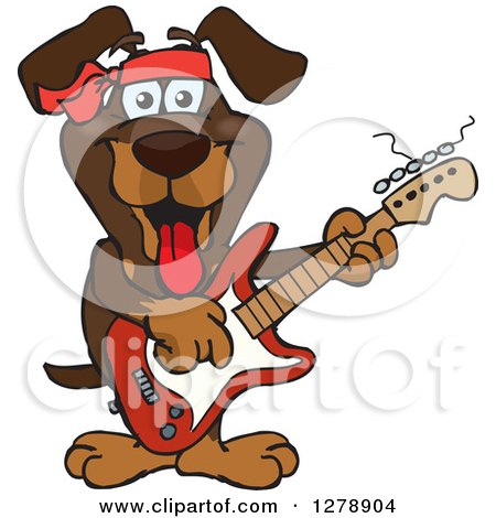 Clipart of a Happy Dachshund Dog Playing an Electric Guitar - Royalty Free Vector Illustration by Dennis Holmes Designs