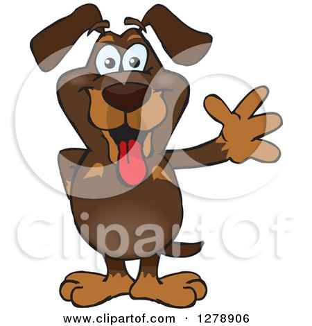 Clipart of a Happy Dachshund Dog Standing and Waving - Royalty Free Vector Illustration by Dennis Holmes Designs
