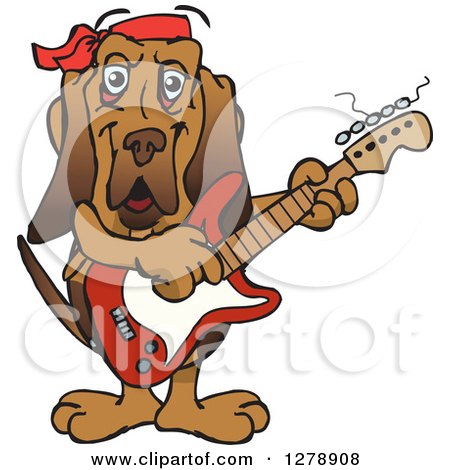 Clipart of a Happy Bloodhound Dog Playing an Electric Guitar - Royalty Free Vector Illustration by Dennis Holmes Designs