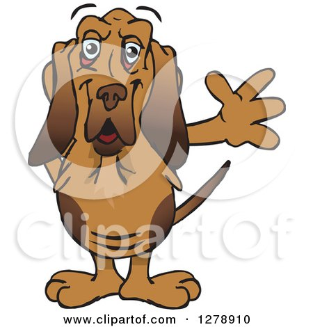 Clipart of a Friendly Waving Bloodhound Dog - Royalty Free Vector Illustration by Dennis Holmes Designs