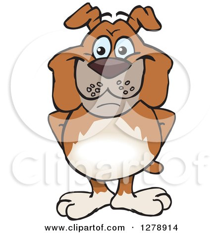 Clipart of a Happy Brown Bulldog Standing - Royalty Free Vector Illustration by Dennis Holmes Designs