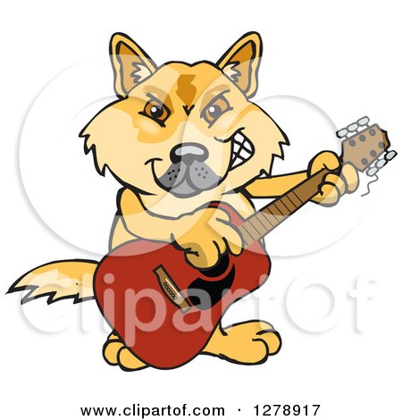 Clipart of a Happy Dingo Playing an Acoustic Guitar - Royalty Free Vector Illustration by Dennis Holmes Designs