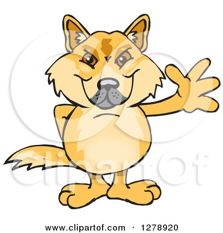 Clipart of a Dingo Waving - Royalty Free Vector Illustration by Dennis Holmes Designs
