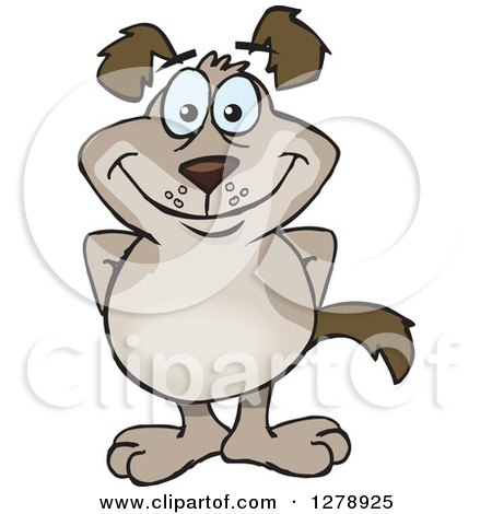 Clipart of a Happy Brown Dog Standing - Royalty Free Vector Illustration by Dennis Holmes Designs