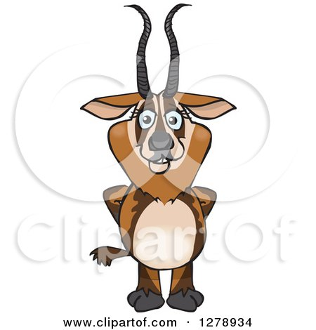 Clipart of a Happy Gazelle - Royalty Free Vector Illustration by Dennis Holmes Designs