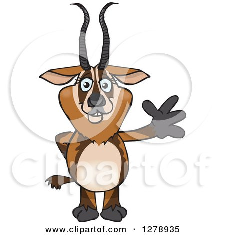 Clipart of a Happy Gazelle Waving - Royalty Free Vector Illustration by Dennis Holmes Designs