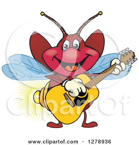 Clipart of a Happy Firefly Playing an Acoustic Guitar - Royalty Free Vector Illustration by Dennis Holmes Designs