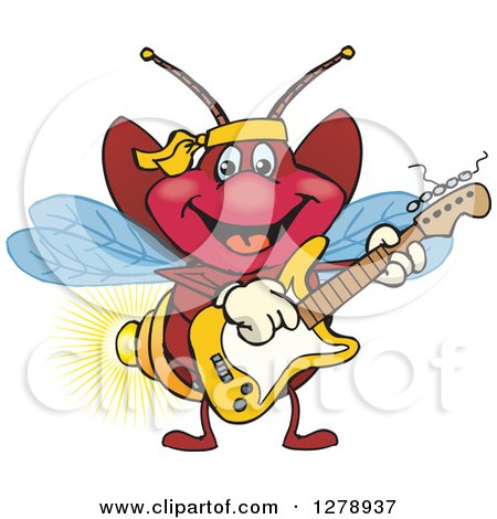 Clipart of a Happy Firefly Playing an Electric Guitar - Royalty Free Vector Illustration by Dennis Holmes Designs