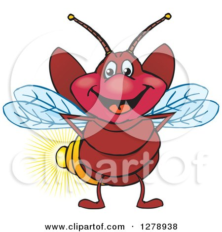 Clipart of a Happy Firefly - Royalty Free Vector Illustration by Dennis Holmes Designs